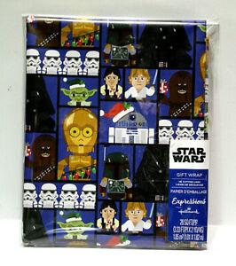 Disney Star Wars Cartoon Blue Christmas Wrapping Paper 20 Sq Ft Grid Back