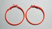 Bijou fantaisie : boucles d'oreille créoles orange fluo - diamètre 3,5 cm