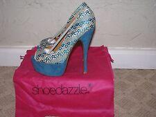 ShoeDazzle Kharay Peep Toe Heels Pumps Turquoise Women's Size 7.5 NEW!