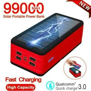 99000mah Solar Power Bank Wireless Fast Charger For Xiaomi Iphone Samsung