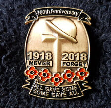 Remembrance Day 1918-2018 100th Anniversary Poppy Cross Lapel Pin Badge Brooch