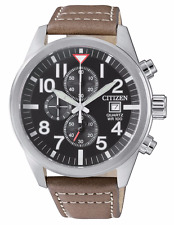 New Citizen Men's Chronograph Stainless Steel Brown Leather Watch AN3620-01H