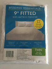 "Bedding Essentials 9"" Fitted Vinyl Mattress Protector, Waterproof Twin 39"" x 75"""