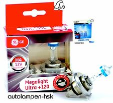 GE H4 Megalight Ultra +120% + Philips W5W BLUE VISION ULTRA + The Set