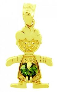 Yellow Gold May Birthstone Emerald Green Heart CZ Baby Boy Charm Pendant