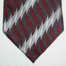 NEW Today's Man Silk Neck Tie Burgundy with Black and Gray Silver Waves 621