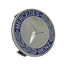 4x 75mm Aleación Centro De Rueda Caps Tapacubos Azul Cromo Clásico Para Mercedes Benz
