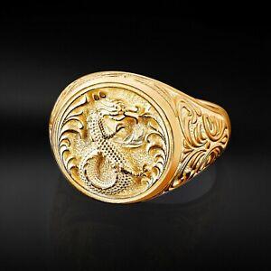 Mens Dragon Ring, Silver Dragon Ring, Man Signet Ring, Unique Rings For Men Gift