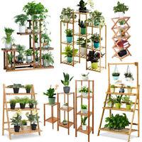 Wood/ Bamboo/Metal Shelf Flower Pot Plant Stand Rack Garden Indoor/Outdoor Home