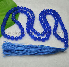 AAA 8mm Tibetan Buddhism 108 Blue Ruby Prayer Bead Mantra Mala Necklace