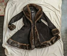 Black Real Suede Leather Swing Winter Coat brown faux fur Size Small Wilson sale