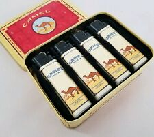 Vintage 1995 Four (4) Camel Cigarette Lighters In Collectors Tin Box