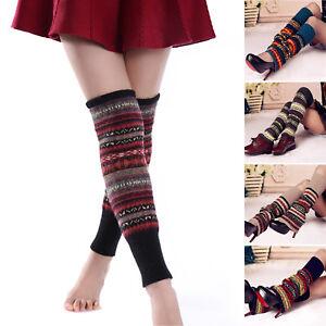 Women Boho Winter Leg Warm Cable Knitted Crochet Lady Long Boots Socks Leggings