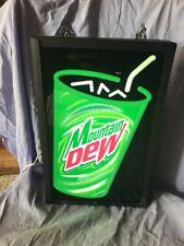 MOUNTAIN DEW Hangable Light Up Sign vintage soda pop pepsi co WORKS Rare promo !