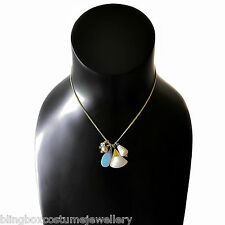 Gold Charm Necklace Mother Of Pearl Pendant Mix Bead Design