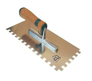 Notched Trowel Stainless Steel 20mm Notch Adhesive Grout Trowel New Cork Handle