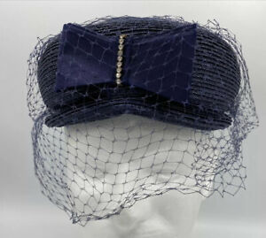 Vintage 1960s Womens Pointed Pillbox Hat Harolds Dept Store MN Royal Blue Aqua Green Feathers Under Netting