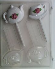TEAPOT AND TEACUP LOLLIPOP CLEAR PLASTIC CHOCOLATE CANDY MOLD AO068