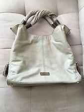 Michael Kors Large Ivory Tonne Hobo Handbag Silver Hardware With Python Pulls