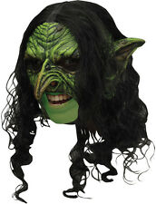 ADULT GREEN WICKED GOBLIN CHINLESS LATEX MASK WITH HAIR COSTUME TB27539
