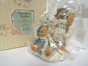 Cherished Teddies NIB! C62 #269735 Boy Wearing Scarf w/ Snowman Figurine