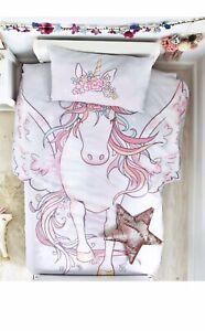 NEXT Girls Single Unicorn Shaped  Duvet Set Bed Set Bedroom 💯 % Polyester New
