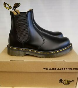 Dr Martens 2976 Yellow Stich Black Smooth Leather Chelsea Boots for Men