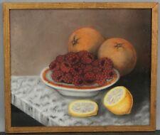Antique Folk Art Pastel Still Life Drawing Raspberries Oranges & Lemons NR
