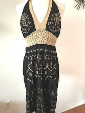 Venus Women's Black Halter Top Dress With Gold Embroidery Size Small