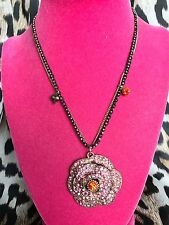Betsey Johnson Iconic Ombre Rose LARGE Pink Red Crystal Paved Flower Necklace