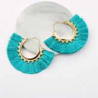 Xmas Gift Women Boutique Burgundy Tassel Fringe Dangle Statement Hoop Earrings