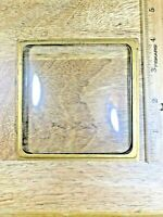 4 Inch Square Convex Clock Glass with Brass Trim Ring (Clock Dial Lot K5199)