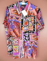 TB06120- NWT BOB MACKIE Women's Silk Short Sleeve Blouse Multicolor Geo Plus 1X