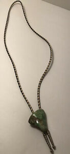 Vintage Hand Made Green Sodalite Stone Western Cowboy Leather Bolo Neck Tie