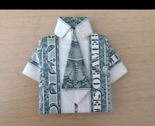 $1 DOLLAR BILL FOLDED INTO A SHIRT AND TIE (ORIGAMI). Makes A great Gift 🎁
