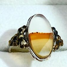 Vintage Agate Sterling Silver 10K Gold Bow Oval Cocktail Ring Candy Corn