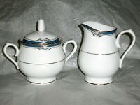 NORITAKE IMPRESSION CHINA P576 W/ GOLD TRIM CREAMER & SUGAR BOWL W/ LID     RARE