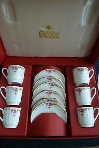 Vintage Boxed Set of 6 x Spode Rosetti Demitasse Cups & Saucers Y8491-K- Perfect