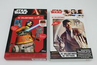 Lot of 2 New Star Wars Box Of Valentines Cards, Tattoos and Stickers