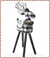 Lighted Black White Buffalo Check Plaid Reindeer Holiday Lodge Christmas Decor
