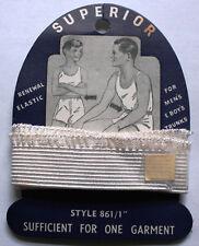 "Vintage Unused Boy's Men's Renewal Elastic on Card - Superior Brand 861/1"""