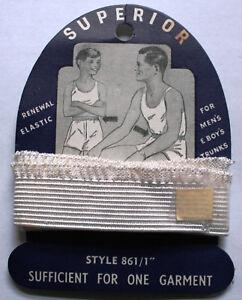 "Vintage Haberdashery Boy's Men's Renewal Elastic on Card - Superior Brand 861/1"""