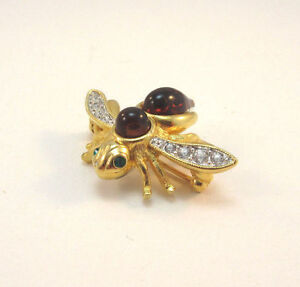 GOLD TONE INTERCHANGEABLE JOAN RIVERS RED STONE BUMBLE BEE PIN BROOCH **