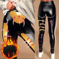 Stretch Fit PU Leather Shaper High Waist Leggings Pants for Women Autumn Winter