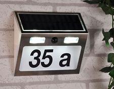 Solar Hausnummer mit Bewegunsmelder - 4 LED  - Edelstahl - Hausnummern Leuchte