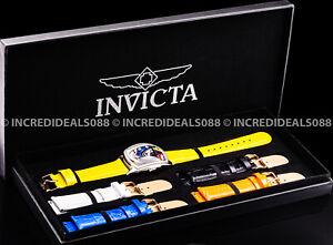 Invicta Men GRAND LUPAH BRITTO Ltd Ed Silver Yellow 41mm Watch 5 Leather Straps