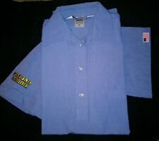 3f3303ea NEW WAFFLE HOUSE Blue Employee Uniform Shirt Size Med. Pullover 3 Button  Flag