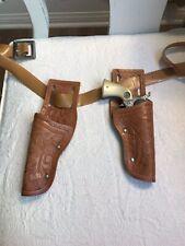 Vintage Toy Cowboy Cast Pistol w/ Plastic Holsters and Belt