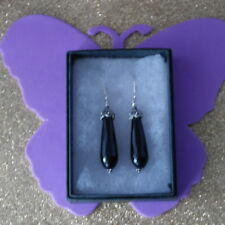 BEAUTIFUL SILVER EARRINGS WITH FACETED ONYX GEMS 9 GR.4.2 CM.LONG + HOOKS IN BOX