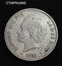 ESPAGNE  5 PESETAS  ARGENT    ALPHONSE XIII    1893   PGV   RARE